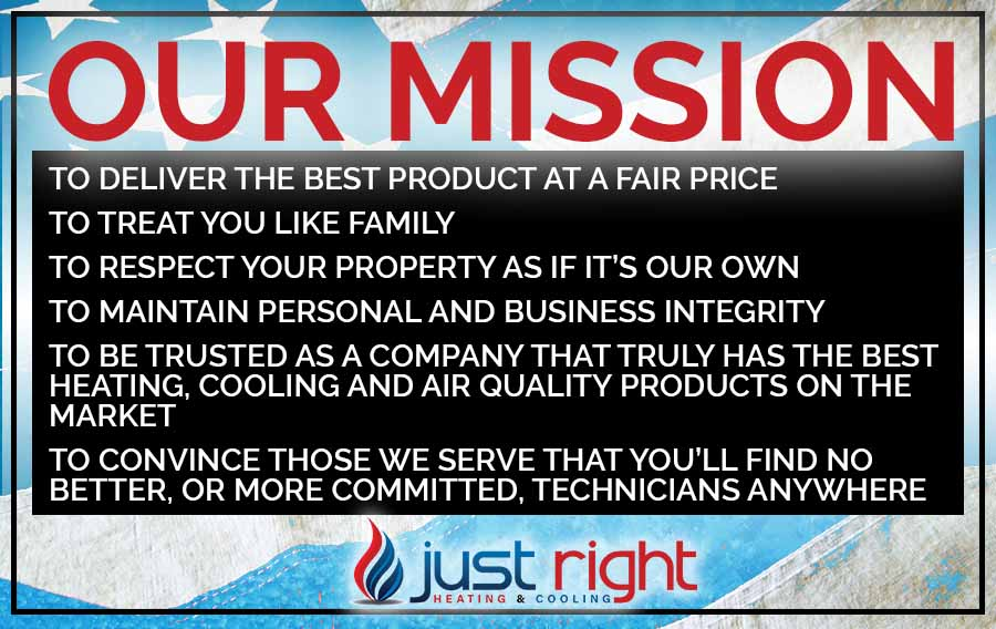 Just Right Heating & Cooling mission to provide great hvac service at a fair price