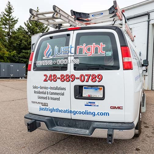 Just Right Heating & Cooling van, quick to respond for furnace repair service in Waterford area