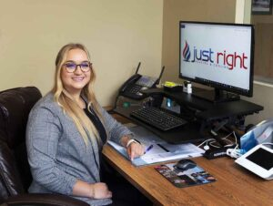 Just Right Heating & Cooling receptionist in Waterford Township location