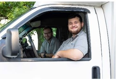 Just Right Heating & Cooling technicians in van
